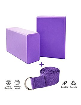 Creation 2pcs Yoga Blocks + 1 Yoga Strap Yoga Starter Kit,Strong Firm Lightweight Eva Foam, Suit For Yoga, Pilates Lovers by Creation