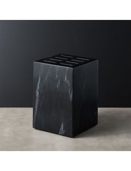 Pillar Black Marble Knife Block by Crate&Barrel