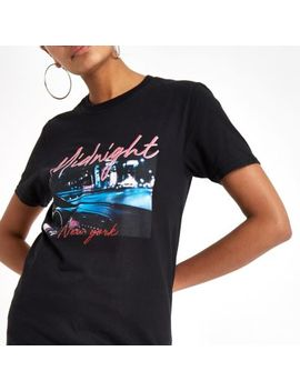 Black 'midnight' Print Photographic T Shirt by River Island