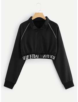 Letter Print Taped Zip Up Jacket by Romwe