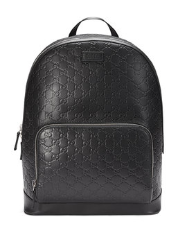Signature Leather Backpack, Black by Gucci