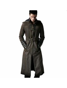 Peony Ghost Steampunk Man Coffee Dark Twill Long Coat Leather Loops Hooded Trench Coats Windbreaker Overcoat by Peony Ghost