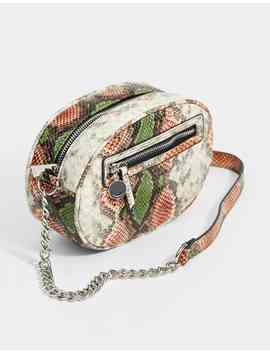 Oval Shaped Snakeskin Print Crossbody Bag by Stradivarius