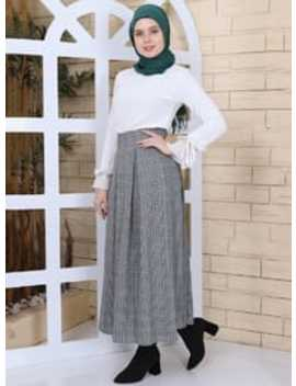 Gray   Khaki   Checkered   Skirt by Modanisa