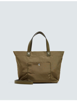 Green Fabric Tote Bag by Pull & Bear