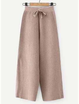 Knot Front Rib Knit Pants by Shein