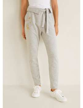 Crystals Cotton Trousers by Mango