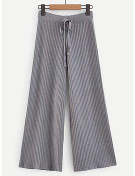 Knot Front Rib Knit Trim Wide Leg Pants by Shein