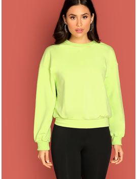 Neon Lime Mock Neck Solid Pullover by Shein