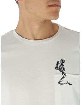 Embroidered Skeleton Pocket T Shirt by Religion