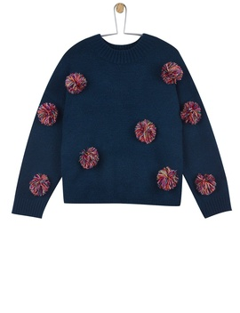 **Girls Navy Pom Pom Knitted Jumper (5   12 Years) by Dorothy Perkins