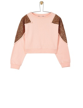**Girls Pink Sequin Cropped Sweat Top ( 5   12 Years) by Dorothy Perkins