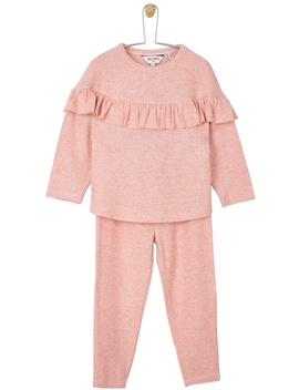 **Girls Pink Frill Joggers And Top Set (18 Months   6 Years) by Dorothy Perkins