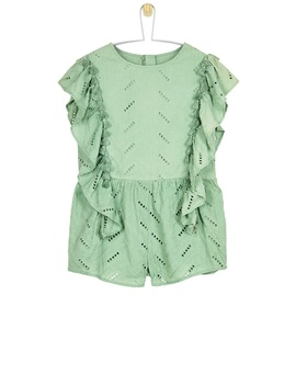 **Girls Khaki Broderie Playsuit (5   12 Years) by Dorothy Perkins
