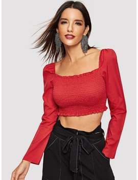 Square Neck Shirred Panel Crop Top by Shein