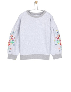 **Girls Grey Embroidered Sleeve Sweatshirt (5   12 Years) by Dorothy Perkins