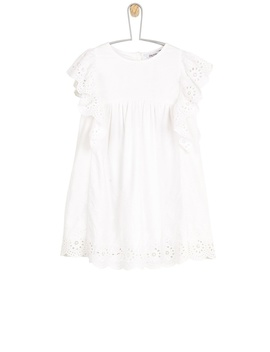 **Girls White Woven Dress With Broderie Detailing (18 Months   6 Years) by Dorothy Perkins
