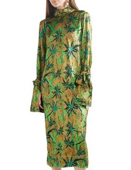 Tie Back Printed Satin Midi Dress by Marni