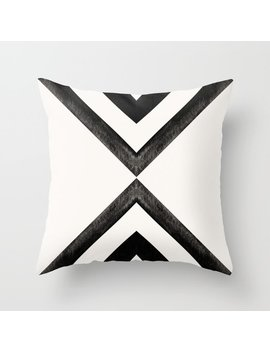 Converging Triangles Black And White Moroccan Tile Pattern Throw Pillow by