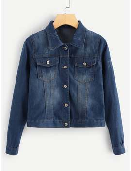 Denim Button Front Pocket Detail Jacket by Romwe