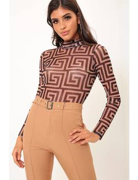 Brown Printed High Neck Mesh Long Sleeve Bodysuit by I Saw It First