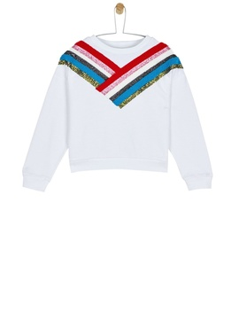 **Girls White Sequin Chevron Sweatshirt (6   13 Years) by Dorothy Perkins