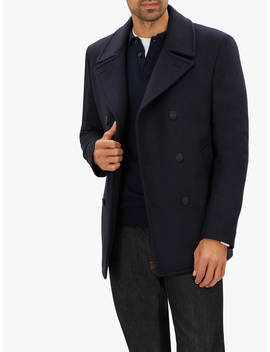 Jaeger Double Face Check Peacoat, Navy by Jaeger
