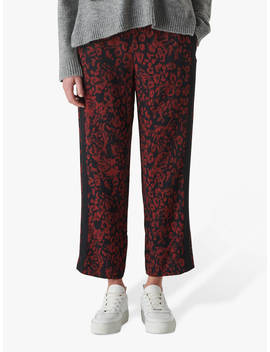 Whistles Jungle Cat Print Crepe Trousers, Red/Multi by Whistles