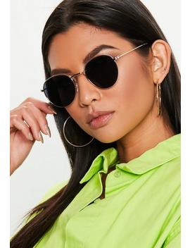 Black Metal Round Sunglasses by Missguided