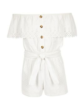 Girls White Broderie Bardot Playsuit by River Island