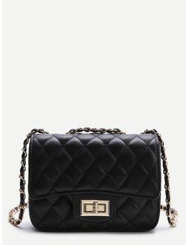 Black Twist Lock Crossbody Bag by Shein