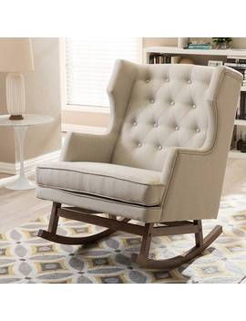 Taylor & Olive Higgins Contemporary Light Beige Fabric Rocking Chair by Taylor & Olive