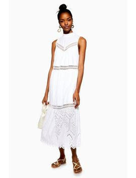 Petite Sleeveless Broderie Dress by Topshop