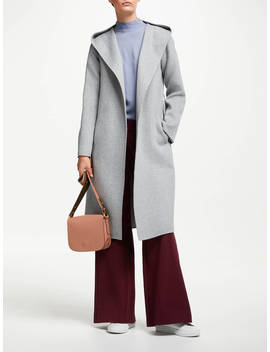 John Lewis & Partners Hooded Double Faced Coat, Grey by John Lewis & Partners