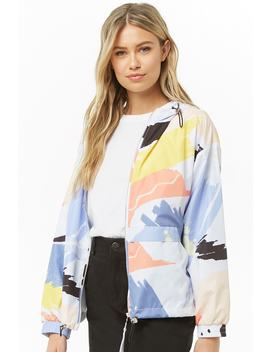 Hooded Watercolor Windbreaker Jacket by Forever 21