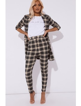 Laura Jade Green Checked High Waisted Trousers by In The Style