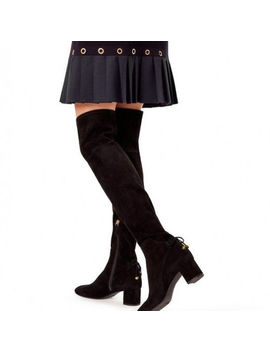 Tory Burch Laila Over The Knee Boot Stretch Suede Black Size 5.5 $598 by Tory Burch