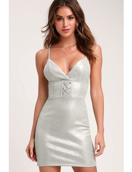 V.I.P. List Silver Metallic Suede Mini Dress by Honey Punch