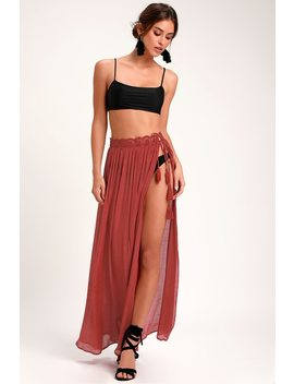 Sun Seeking Brick Red Lace Swim Cover Up Maxi Skirt by Lulus