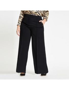 Plus Black Button Wide Leg Trousers by River Island