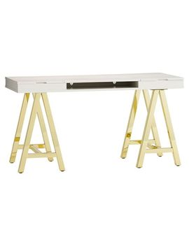 Customize It Project Desk Top Metal Legs, Simpley White With Gold Base by P Bteen