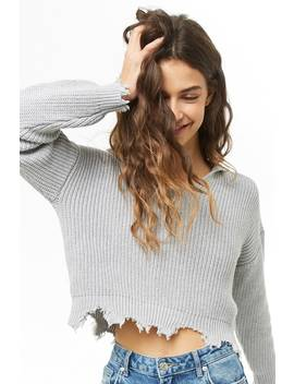 Distressed Hooded Ribbed Knit Sweater by Forever 21
