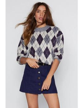 Make Knit Happen Argyle Sweater by Nasty Gal