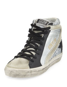 Slide Mixed High Top Sneakers by Golden Goose