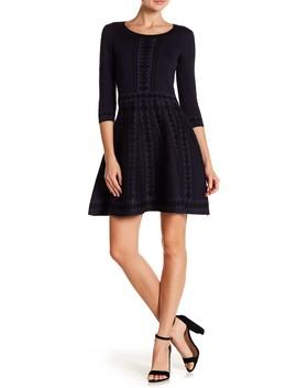 3/4 Sleeve Geometric Print Dress by Nina Leonard