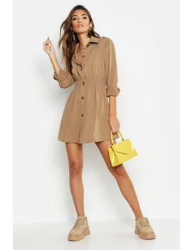 Tonal Utility Shirred Waist Shirt Dress by Boohoo