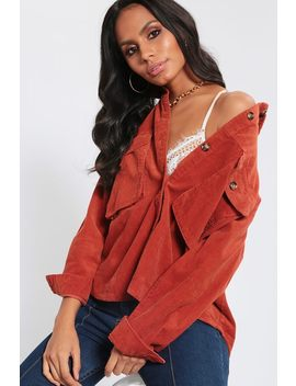 Rust Cord Utility Cropped Shirt by I Saw It First