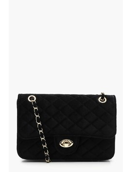 Velvet Square Quilted Cross Body by Boohoo