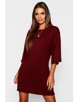 Cotton Oversized 3/4 Sleeve T Shirt Dress by Boohoo