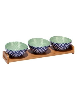 Certified International® Chelsea Mix & Match Porcelain And Bamboo 4pc Serving Set Blue by Shop This Collection